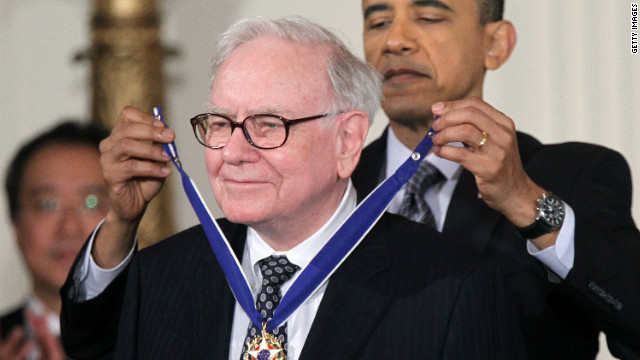 Investor Warren Buffett is presented with the 2010 Medal of Freedom by President Barack Obama in 2011.
