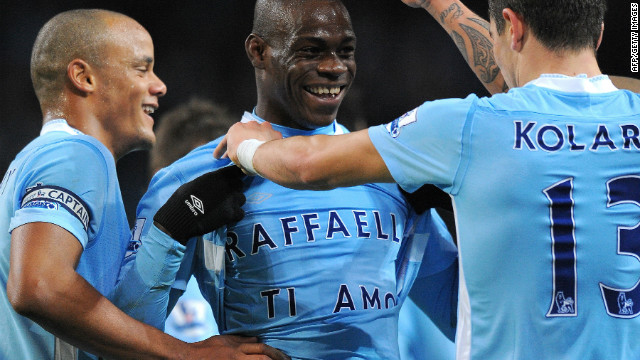 Manchester City striker Mario Balotelli, center, dedicated his goal against Blackburn to his girlfriend.