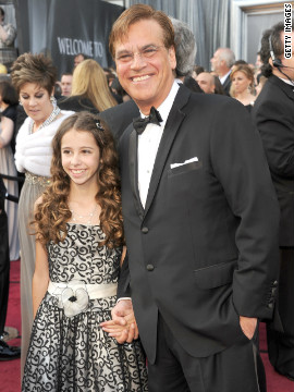 Aaron Sorkin brought his 10-year-old daughter, Roxy Sorkin, to the event.