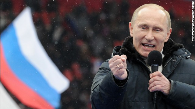 Putin speaks to supporters at a Moscow rally on February 23, 2012. He won the presidential election in March, with just under 65% of the vote. Former President Medvedev became his prime minister.