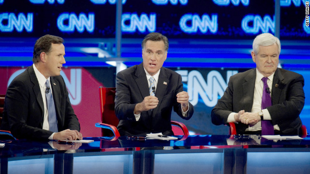 GOP presidential candidates Rick Santorum, Mitt Romney and Newt Gingrich face off in last week's debate in Mesa, Arizona.