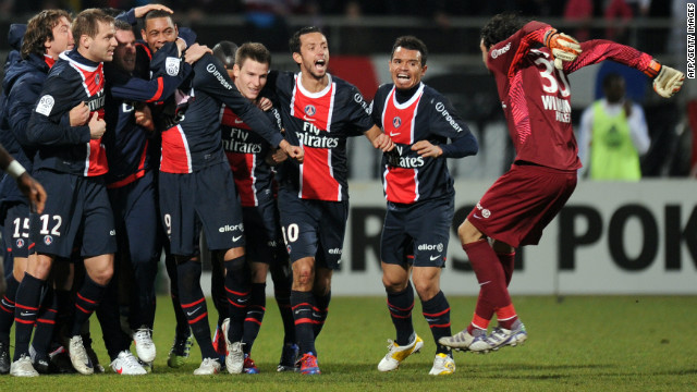 PSG are battling at the top of the table for their first Ligue 1 title in 18-years. Here, the players celebrate a late equaliser against 2008 French champions Lyon which secured a point in an enthralling 4-4 draw.