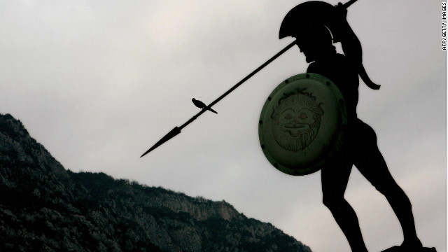 The statue of King Leonidas of ancient Sparta stands over the battlefield of Thermopylae in central Greece.