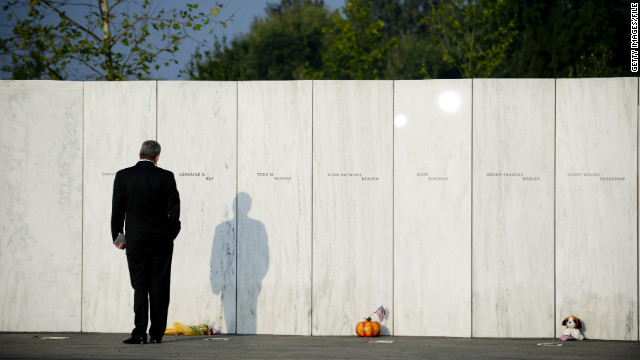 A Wall of Names recognizes the victims of the United Flight 93 crash in Shanksville, Pennsylvania, on 9/11's 10th anniversary.