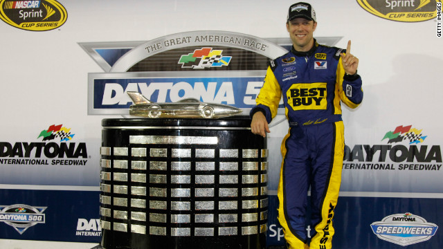 Kenseth poses with the Harley J.Earl Trophy after winning the 54th Annual Daytona 500.