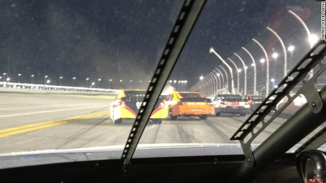 Brad Keselowski snapped this picture of a track disaster with his camera phone, tweeted, and his Twitter following soared.
