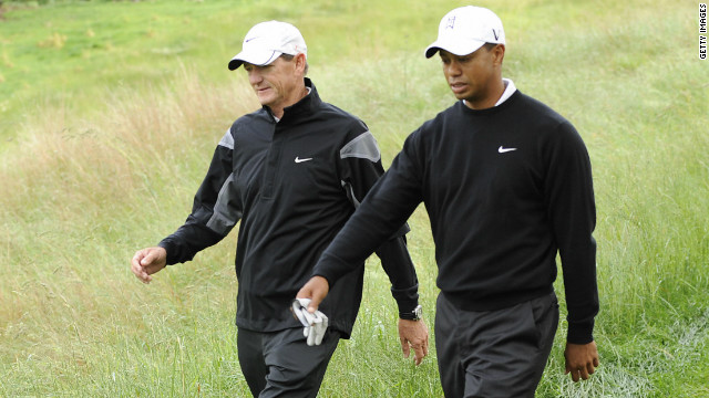 American golfer Tiger Woods won six major championships in six years with swing coach Hank Haney, left.