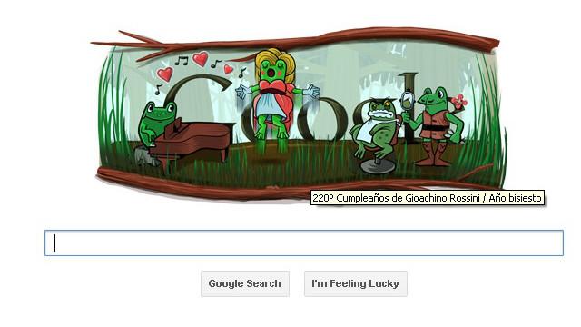 """El """"doodle"""" de Google celebra el año bisiesto y a Gioachino Rossini"""