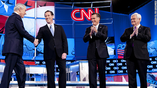 Ron Paul, Rick Santorum, Mitt Romney and Newt Gingrich meet at a GOP debate in Mesa, Arizona, on February 22.