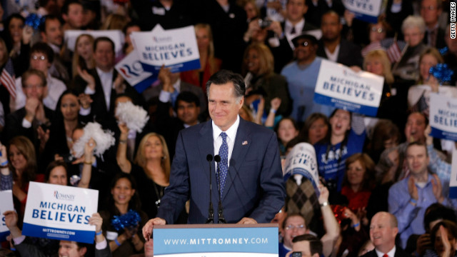 Mitt Romney addresses supporters Tuesday night in Novi, Michigan, after his wins in the Michigan and Arizona primaries.
