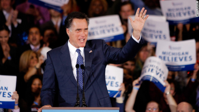 Mitt Romney addresses supporters Tuesday night in Novi, Michigan, after winning the Michigan and Arizona primaries.