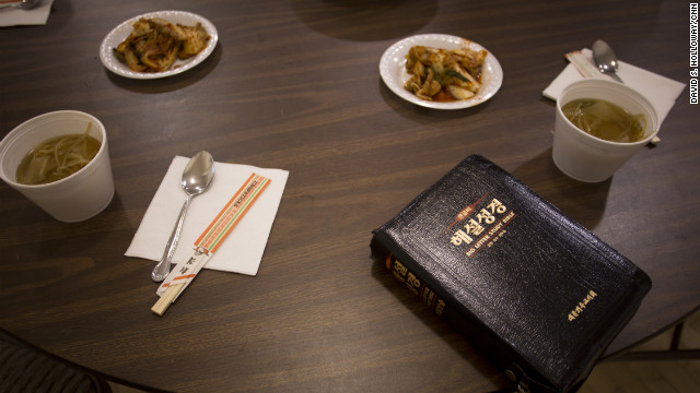 Food was always scarce in North Korea, the family said. Their ribs jutted out of their bodies and they tried to combat their hunger by drinking water. This is a lunch of cabbage soup and kimchi, a traditional spicy pickled cabbage dish, served at their church. <br/><br/>