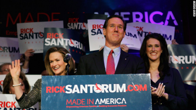 Rick Santorum addresses supporters at a primary night gathering in Grand Rapids, Michigan. 