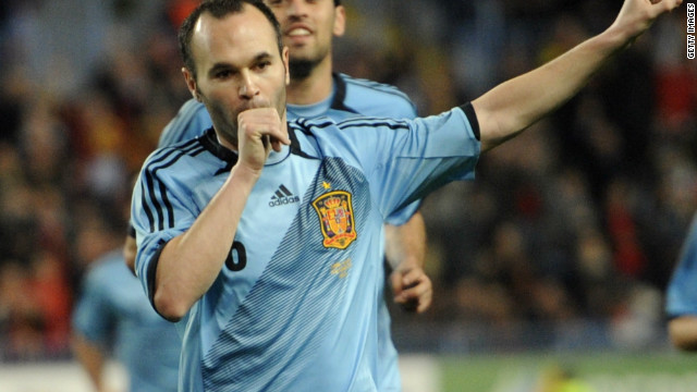 Andres Iniesta is on the mark for world champions Spain against Venezuela in their friendly