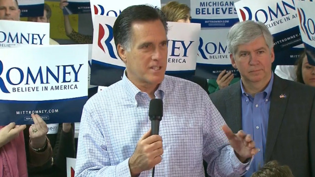 Mitt Romney Campaigns In Michigan On Day Of State's Primary.