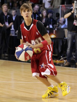 Bieber shows off on the basketball court at the 2011 BBVA NBA All-Star Celebrity Game in Los Angeles. Even former NBA player Scottie Pippen said he was surprised by Bieber's skills.
