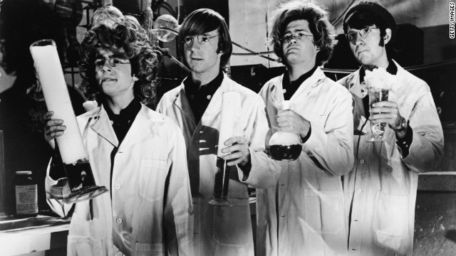 The Monkees dressed as &quot;mad scientists&quot; in the early 1970s for their television show. 