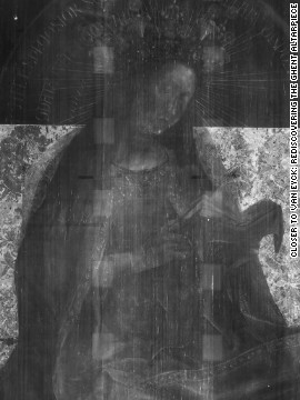 Digitized X-radiographs of the Virgin Enthroned panel. These images allow the viewer to see the skeleton of the picture, revealing the evolving nature of the composition over time.