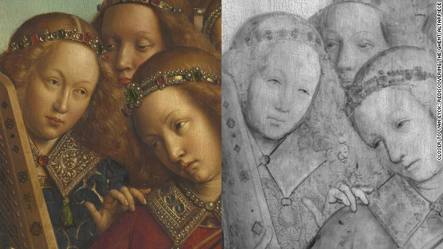 A detail from the Angel Musicians, in digital macrophotographs on the left and in digital infrared reflectograms on the right.