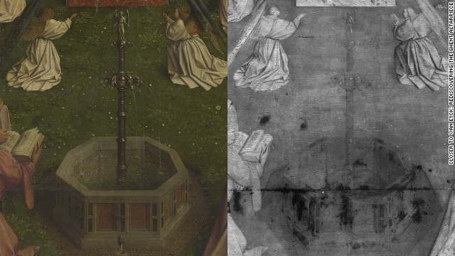 A detail from the famed Adoration of the Lamb. Viewed with digital macrophotographs on the left and an assembly of digital infrared reflectograms on the right.