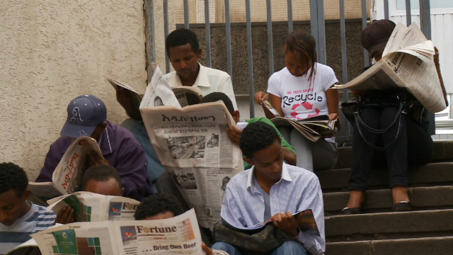 On the streets of Addis Ababa, newspaper vendors not only sell their wares, they rent them too. It is not uncommon for one newspaper to be read up to 20 times a day! &lt;br/&gt;&lt;br/&gt;