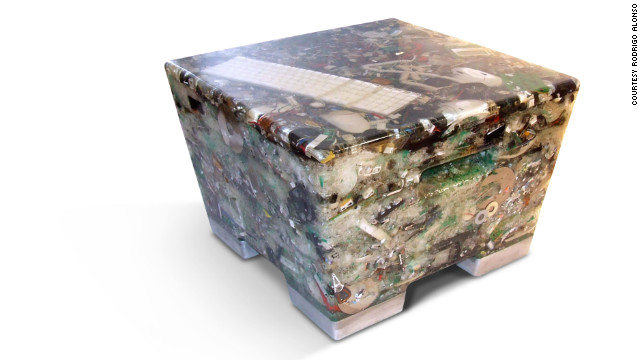 """This hand-made stool is a way to freeze in time and extract from our garbage what we don't use any more, giving it life again in our home,"" says Argentinian designer Rodrigo Alonso, who created this piece of furniture from discarded electrical goods."