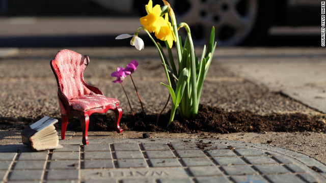 "British artist and designer Steve Wheen creates tranquil miniature outdoor scenes in potholes in London roads. ""The <a href='http://thepotholegardener.com/' target='_blank'>Pothole Gardener</a> is a project that challenges people's perception of the urban environment around them,"" he explains. ""The point was never to highlight the issues around climate change, rather to bring greenery and beauty into an urban setting. However, if the project brings up these issues, that's great too. I know it's a cliche, but small changes can make a big difference."""