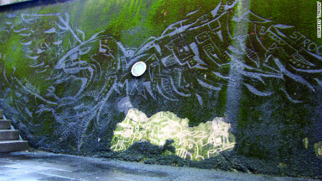 "Belgian graphic designer <a href='http://www.strook.eu/' target='_blank'>Strook</a> used a moss-covered wall in his home city of Leuven as a canvas -- employing a power-washer to create what he calls ""reverse graffiti."" He created this bird mural by cleaning moss off, rather than spraying paint on. ""A filthy wall became something attractive,"" he says. I hope some people will look at the wall in a different way and discover the beauty of nature."""
