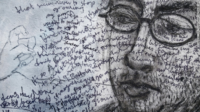 "Foer did free-association writing on top of a portrait Messer drew of him. ""He's always more curious about what he's not doing than what he's doing,"" says Messer."