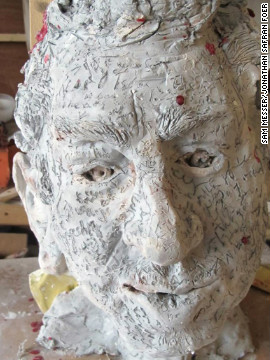 Foer's friend Sam Messer, who teaches at Yale University, made this clay model of the novelist's head.