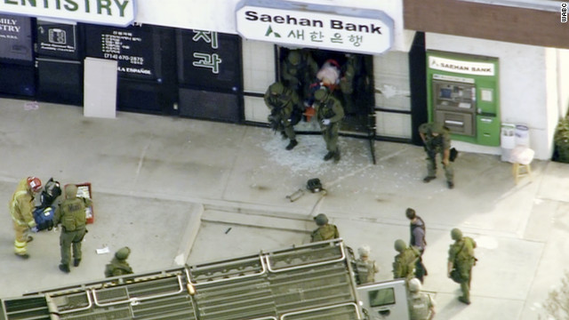 Police on the scene at Saehan Bank branch in Buena Park, about 20 miles southeast of Los Angeles.