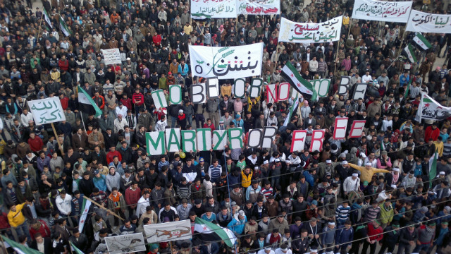 Syria: Anti-government protest in Binnish