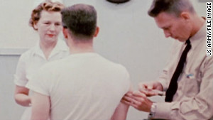 A soldier receives an injection in an image from an Army film about Edgewood.