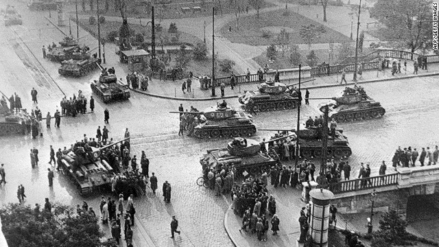 Soviet army tanks on the streets of Budapest on November 12, 1956. The quashing of the revolution claimed the lives of 2,000 citizens and injured hundreds more.<br/><br/>