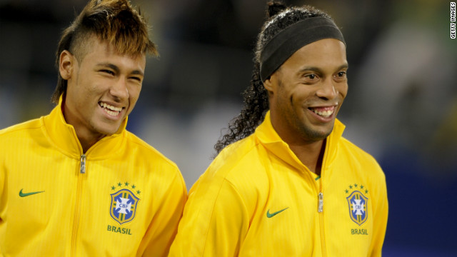 Neymar is the latest in a long line of exciting Brazilian talent. Here he is pictured next to Ronaldinho, the two-time FIFA World Player of the Year who won the World Cup with Brazil in 2002 and the European Champions League with Barcelona in 2006. He is now back in Brazil with Flamengo.
