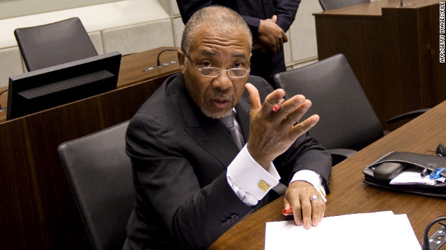 Former Liberian President Charles Taylor pictured on February 8, 2011 during his trial at the U.N. Special Court for Sierra Leone.