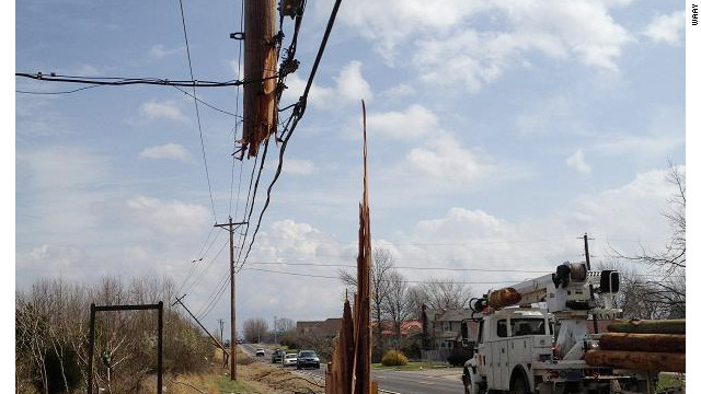 Tornado-force winds sheered this telephone pole in Madison County, Alabama.