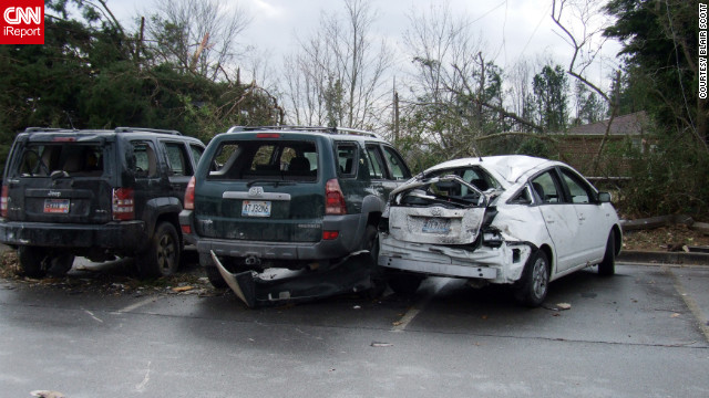 iRepoterer Blair Scott took this photo of damaged cars at Buckhorn High School in Hunstville, Alabama, after the school was hit by one of Friday's tornadoes.