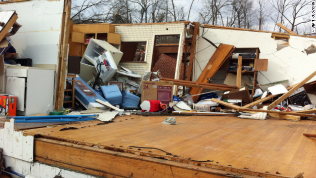 A tornado in Ooltewah,Tennessee, left this home destroyed on Friday.