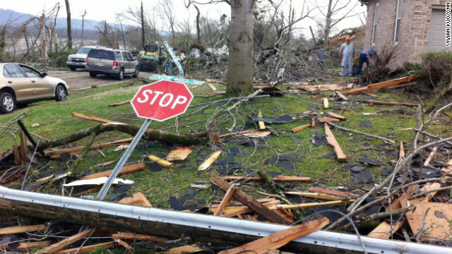 Debris is strewn as far as the eye can see in Ooltewah.