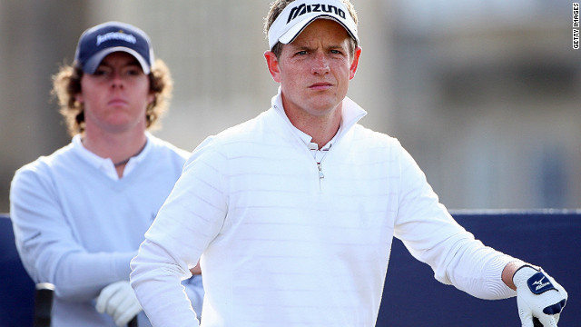 Look behind you! Rory McIlroy and Luke Donald at the Alfred Dunhill Links Championship in 2007 where the Northen Irishman finished third to mark his arrival in the professional ranks. 