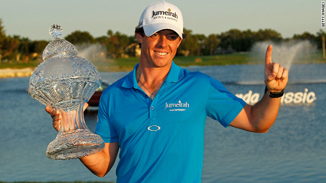 Top of the world: McIlroy's victory at the Honda Classic has seen him replace England's Luke Donald at the top of the world rankings. 