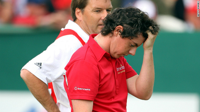 A dejected McIlroy reflects on a missed putt during a playoff at the 2008 Omega Masters in Switzerland. The 19-year-old narrowly missed out on his first European Tour win losing out to Jean-Francois Lucquin from France. 