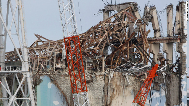 Journalists were shown the damage at the top of the No.3 reactor building of Tokyo Electric Power Co.'s Fukushima Daiichi nuclear power plant.