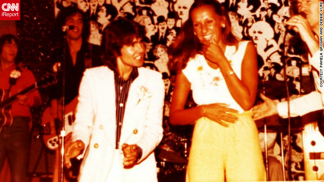"Pamela Grogan was pulled onstage at a show with Jones and fellow Monkee Micky Dolenz in the summer of 1977 in Dennisport, Massachusetts. ""I was so excited and was laughing, he was so cute and dreamy. [I was] smiling and laughing from ear to ear. You can tell by Davy's expressions that he was imitating James Cagney. What an experience that I'll treasure forever."""