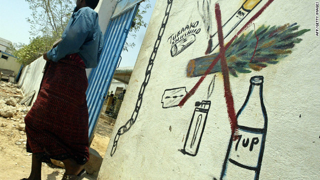 A Somali man walking out of the psychiatric ward of the general hospital of the northern Somali port of Bosasso on September 8 2007. The hospital treats numerous patients suffering from psychological damage arising from khat.