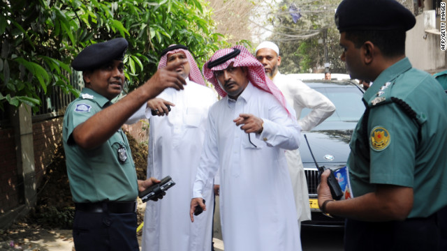Bangladeshi and Saudi Embassy officials investigate the murder of a Saudi Arabian diplomat shot dead in Dhaka, Bangladesh