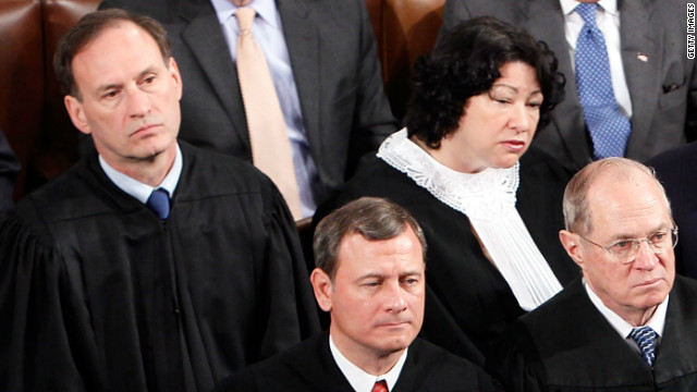 Justices Samuel Alito and Sonia Sotomayor sit behind Chief Justice John Roberts and Justice Anthony Kennedy at the State of the Union in 2010.