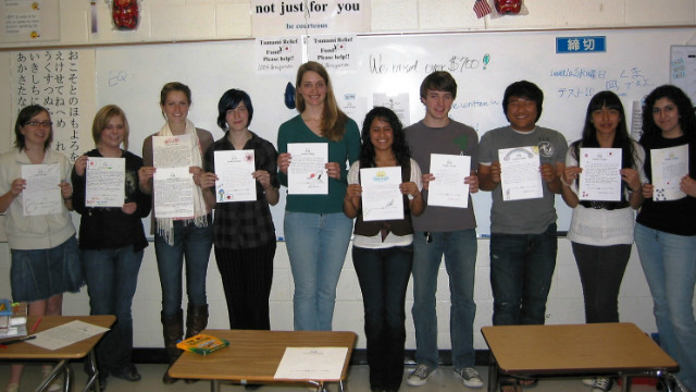 Students in a Japanese class at Roswell High School in Roswell, Georgia, wrote 152 letters to earthquake and tsunami victims in Japan.