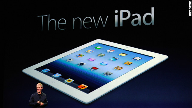 Apple CEO Tim Cook unveils the company's newest -- and unnamed -- iPad on Wednesday in San Francisco.
